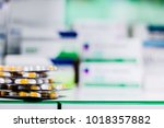 medicine pills or capsules with ... | Shutterstock . vector #1018357882