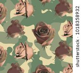 Stock vector fashionable camouflage pattern with light pink roses with leaves 1018358932