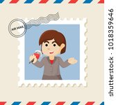 reporter postage stamp on air... | Shutterstock .eps vector #1018359646