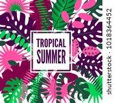 summer hawaiian tropical poster ... | Shutterstock .eps vector #1018364452