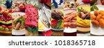 an italian gastronomy collage... | Shutterstock . vector #1018365718