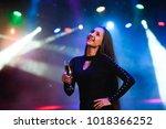 closeup of happy mixed race... | Shutterstock . vector #1018366252
