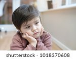 portrait of little boy with... | Shutterstock . vector #1018370608
