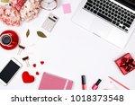 feminine desk workspace frame... | Shutterstock . vector #1018373548