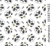 seamless pattern hand drawn... | Shutterstock .eps vector #1018374622