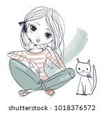cute little princess with black ... | Shutterstock .eps vector #1018376572