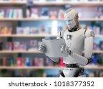3d rendering humanoid robot... | Shutterstock . vector #1018377352