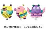 watercolor funny illustration... | Shutterstock . vector #1018380352