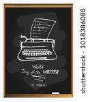 world writer's day on...   Shutterstock .eps vector #1018386088