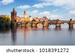 prague   charles bridge  czech... | Shutterstock . vector #1018391272