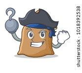 pirate sack character cartoon... | Shutterstock .eps vector #1018392538