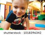a modern children playground... | Shutterstock . vector #1018396342