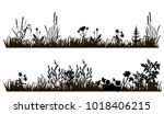 isolated silhouette of grass... | Shutterstock . vector #1018406215