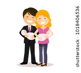 happy parents with twin baby... | Shutterstock .eps vector #1018406536