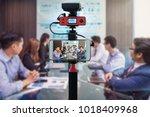 closeup smart mobile phone... | Shutterstock . vector #1018409968