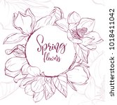floral background. hand drawn... | Shutterstock .eps vector #1018411042