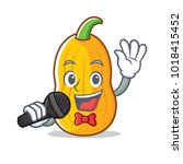 singing butternut squash mascot ...   Shutterstock .eps vector #1018415452