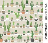 hand drawn different cactuses...   Shutterstock .eps vector #1018416766