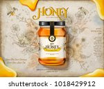 wildflower honey ads  realistic ... | Shutterstock .eps vector #1018429912