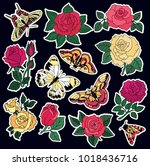 set of roses and butterfly... | Shutterstock . vector #1018436716