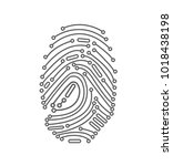 digital fingerprint in white... | Shutterstock .eps vector #1018438198