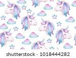 cute  magic unicorn seamless... | Shutterstock . vector #1018444282