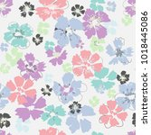 hand drawn floral seamless...   Shutterstock .eps vector #1018445086