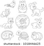 set of pets including a cat  a... | Shutterstock .eps vector #1018446625