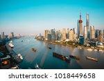 shanghai city skyline aerial... | Shutterstock . vector #1018449658