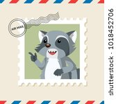 raccoon postage stamp on air... | Shutterstock .eps vector #1018452706