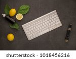 electronic cigarette and liquid ... | Shutterstock . vector #1018456216