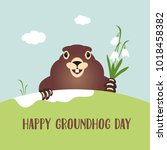 happy groundhog day card.... | Shutterstock .eps vector #1018458382