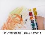 the kid is painting in... | Shutterstock . vector #1018459045