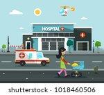hospital building. vector flat...   Shutterstock .eps vector #1018460506
