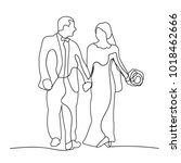 sketch of the bride and groom ... | Shutterstock .eps vector #1018462666