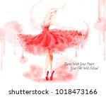 watercolor ballet dancer ... | Shutterstock .eps vector #1018473166