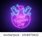 valentine's day. 3d neon sign.... | Shutterstock .eps vector #1018473622
