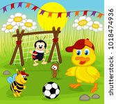 duckling and insects play... | Shutterstock .eps vector #1018474936