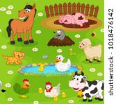 seamless pattern with farm... | Shutterstock .eps vector #1018476142