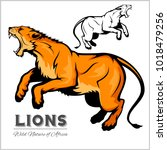 lioness. vector isolated animal. | Shutterstock .eps vector #1018479256