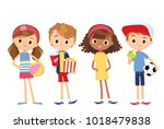 set of cute children. children... | Shutterstock .eps vector #1018479838