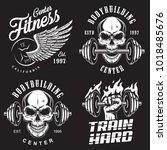 set of bodybuilding emblems... | Shutterstock . vector #1018485676