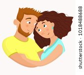 man and woman in love. st.... | Shutterstock .eps vector #1018488688