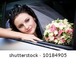 a bride with a bouquet of roses ... | Shutterstock . vector #10184905