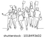 continuous line drawing of six... | Shutterstock .eps vector #1018493602