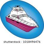 purple pleasure boat vector... | Shutterstock .eps vector #1018496476