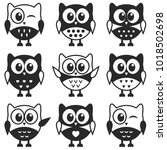 set of black and white owls  | Shutterstock .eps vector #1018502698