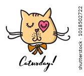 cute cat in hand drawn style.... | Shutterstock .eps vector #1018502722
