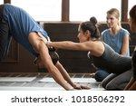 smiling yoga teacher or pilates ... | Shutterstock . vector #1018506292