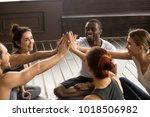 fit sporty happy multicultural... | Shutterstock . vector #1018506982